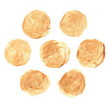 Set of Golden Stains, brush strokes Royalty Free Stock Images