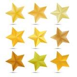 Set Golden star on white background Stock Photos