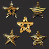 Set of golden stars Royalty Free Stock Images