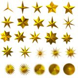 Set of golden stars 3d illustration Stock Photos