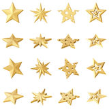 Set of 4 golden stars. Different angles Royalty Free Stock Photos