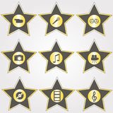 Set of golden stars Stock Photography