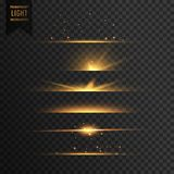 Set of golden stars transparent light effect background Royalty Free Stock Photo