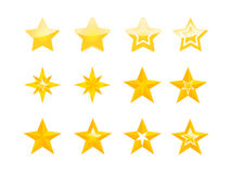 Set of golden stars on white background. Fully editable Vector illustration set of golden stars Stock Photography