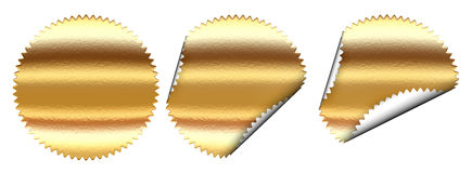 Set of golden sticker Royalty Free Stock Photos