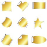 Set of golden stickers Stock Images