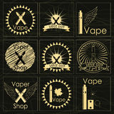 Set of golden stickers and accessories for vaping Royalty Free Stock Photo