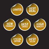 Set of Golden  stickers on black background Royalty Free Stock Images