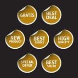 Set of Golden stickers on black background. Set of Golden color stickers on black background royalty free illustration