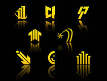 Set of golden symbols Royalty Free Stock Images