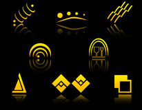 Set of golden symbols Royalty Free Stock Photography