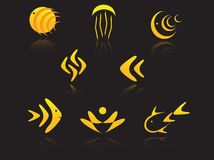 Set of golden symbols Stock Images
