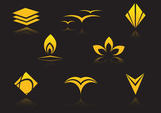 Set of golden symbols. On black with reflection Royalty Free Stock Photos