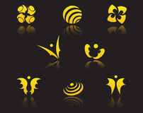 Set of golden symbols Royalty Free Stock Photo