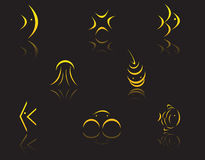 Set of golden symbols Royalty Free Stock Photography
