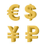 Set of golden symbols money. Russian ruble. Euro European cash. Royalty Free Stock Photo