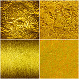 Set of golden texture, scratchet, gruge, forged. Golden steel ba Stock Photos