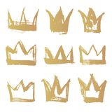 Set golden texture strokes thick paint in the form of a crown Stock Photo