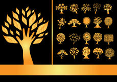 Set of 20 golden tree silhouettes Royalty Free Stock Photography