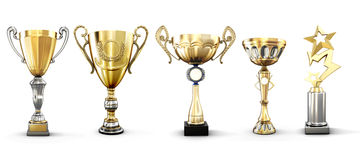 Set of golden trophies isolated on white background. Set of various gold cups. 3d illustration Royalty Free Stock Images