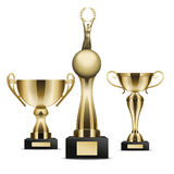 Set of Golden Trophy Cups Winner Graphic Art Icon Royalty Free Stock Photos