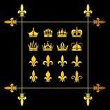 Set of golden vector crowns and fleur de lys black Stock Image