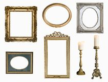 Set of golden vintage frame adn candlesticks isolated on white background. Retro style royalty free stock photos