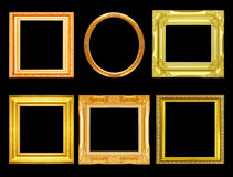 Set of golden vintage frame isolated on black Stock Photography