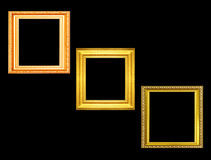 Set of golden vintage frame isolated on black background Stock Photography