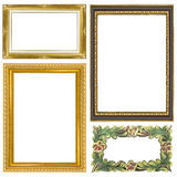 Set golden vintage frame isolated on white background Royalty Free Stock Photo