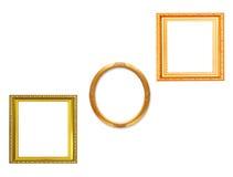 Set of golden vintage frame isolated on white background Stock Images