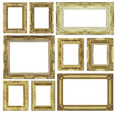 Set of golden vintage frame isolated on white background. Royalty Free Stock Photos