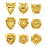 Set of golden vintagel design elements. Royalty Free Stock Image
