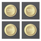 Set of golden warranty  buttons Royalty Free Stock Image