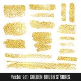 Set of golden watercolor brush stroke  on Royalty Free Stock Images