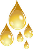 A set of golden waterdrops Royalty Free Stock Photography