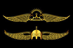 Set of golden winged crowns logos black background Royalty Free Stock Photography