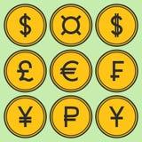 Set of golden yellow coin-like vector icons Stock Photos