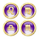 Set of the Golden Zodiac Signs Royalty Free Stock Photography