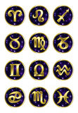 Set of Golden zodiac signs Royalty Free Stock Image