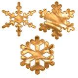 Set Goldmetalleffektschnee blättert über Weiß ab Lizenzfreie Stockfotografie