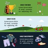 Set of golf banner, clothes and accessories for golfing, website header set for golf tournaments, clubs, championship stock illustration
