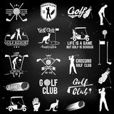Set of Golf club concept with golfer silhouette. Royalty Free Stock Photos