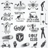Set of Golf club concept with golfer silhouette. Set of Golf club concept with golfer silhouette and design elements. Vector golfing club retro badge. Concept Stock Image