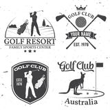 Set of Golf club concept with golfer silhouette. Vector golfing club retro badge. Concept for shirt, print, seal or stamp. Typography design Stock Image