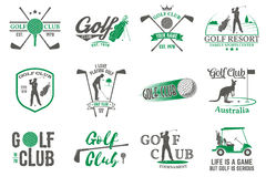 Set of Golf club concept with golfer silhouette. Stock Photo