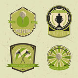 Set of golf club logo templates.Vintage sport labels with golf ball, championship cup and flags. Elegant icons for golf tournament Royalty Free Stock Photos