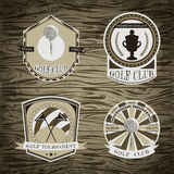 Set of golf club logo templates.Vintage sport labels with golf ball, championship cup and flags. Elegant icons for golf tournament Royalty Free Stock Photo