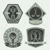 Set of golf club logo templates.Vintage sport labels with golf ball, championship cup, putter and golfer. Elegant icons for golf t. Ournaments, organizations and Royalty Free Stock Photo
