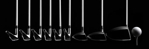 Set of Golf clubs with a Ball and Tee Royalty Free Stock Image